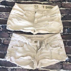 Two white jean shorts